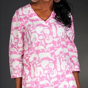 Pink and White Whale Print Tunic